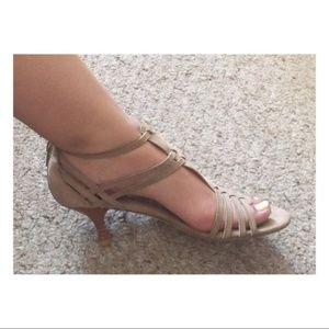 Stuart Weitzman Huarache Nubuck Kitten Heel Sandal